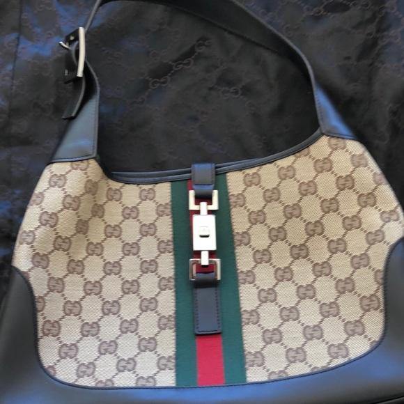 GUCCI Handbags - GUCCI Jackie O Hobo Brown GG Canvas